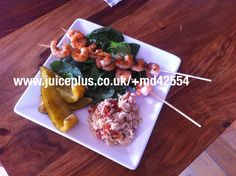 Ideal for Juice Plus meal plan. Barbecued prawns and peppers with spinach, rice and chopped sundries tomatoes.