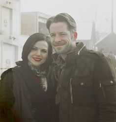 Lana Parrilla (Regina) and Sean Maguire (Robin Hood) on the set of Once Upon A Time. #OUAT