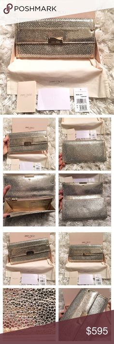 "NWB Jimmy Choo Glitter Reese Clutch Champagne Gold Stunning!! Authentic Jimmy Choo Reese Clutch / Large Wallet. This is brand new in box with tags. Photos don't do justice to show how lovely and sparkly this clutch is!!! It is Metallic glittery canvas with gold leather accents. Inside has 12 card slots. Can also fit iPhone 6 Plus. Color is called ""champagne"". Snap flap closure. Measures approx 10"" x 5"". Comes with box and tags. Retails approx $795. Jimmy Choo Bags Clutches & Wristlets"