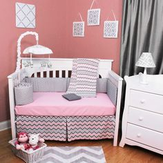 Chevron Zig Zag Pink and Gray 5 Piece Baby Girl Crib Nursery Bedding Set