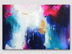 Original XXL extra large abstract painting, modern fine art painting, fuchsia purple dark blue turquoise, gold leaves, bold colors on canvas