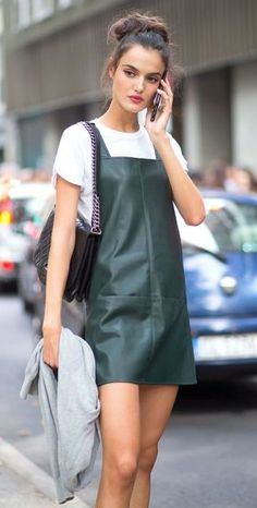 Street Style Obsession_bag + tee + leather dress