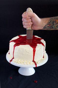 "Halloween Bleeding Cake ~ via this blog, ""Love Swah""."
