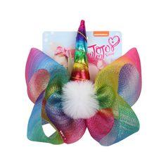 "JOJO SIWA Unicorn Hair Bow Clip White Pom pom Horn Rainbow Cartoon Hair Grip 8/"""