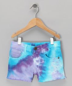 Take a look at this Blue Tie-Dye Luster Denim Shorts - Toddler & Girls by Zinnias on #zulily today!