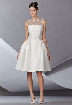 Absolutely LOVE this dress:  great classic bodice updated cut, short and modern yet classic and classy! Carolina Herrera Spring 2014 Wedding Dresses