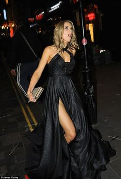 Charlotte Hawkins suffered a slight wardrobe malfunction in a sizzling gown as she left the ITV Gala at London's Palladium on Thursday Great Legs, Nice Legs, Tv Presenters Uk, Girl Celebrities, Celebs, Charlotte Hawkins, Tv Girls, Holly Willoughby, Mini Skirts