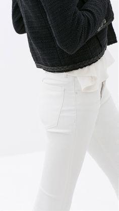 Via Zara | White Coated Skinny Jeans | Minimal Chic
