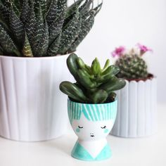 Learn how to create these cute DIY Mini Face Planters in a few simple steps!