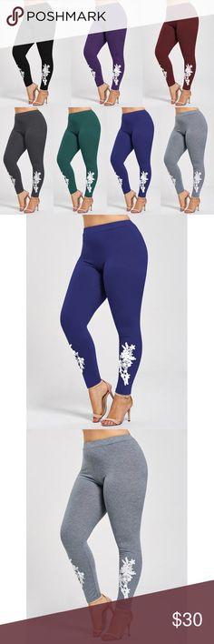 Appliqued Jersey Leggings 🌹Built to fit comfy leggings. Pants Leggings