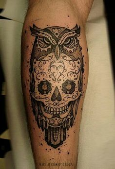 Unconventional sugar skull tattoo..very nice