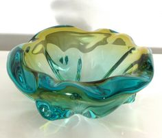 Vintage Large Seguso type murano glass bowl in striking colorway Sommerso Vases, Pots, Black Vase, Art Of Glass, Venetian Glass, Glass Design, Hand Blown Glass, Glass Ornaments, Colored Glass