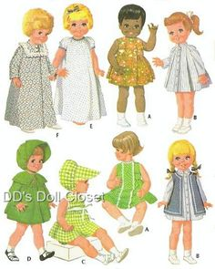 Vintage Doll Clothes Patterns.  I still have some doll clothes my great-grandmother made for me out of patterns just like this.