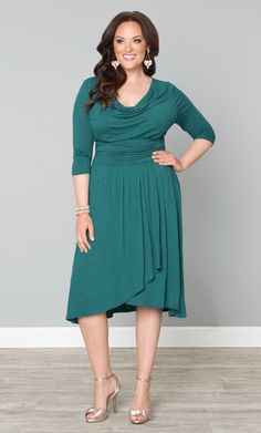 RSVP in style with our plus size Draped in Class Dress.  Perfect for a day or evening wedding, this dress flatters every curve.  www.kiyonna.com  #KiyonnaPlusYou  #Plussize  #MadeintheUSA  #Kiyonna  #SemiFormal  #WeddingAttire