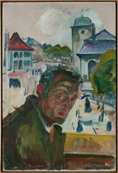 """EDVARD MUNCH – Modernist in his context, Munch could be also considered the first expressionist painter in history. Works like """"The Scream"""" are vital to understanding the twentieth century painting. / Self Portrait in Bergen / 1916 Edvard Munch, Post Impressionism, Art Moderne, Bergen, Famous Artists, Figurative Art, Oeuvre D'art, Illustration, Gustav Klimt"""
