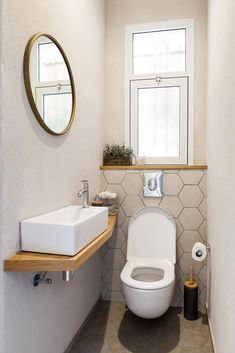 Small Toilet Decor, Small Downstairs Toilet, Toilet Room Decor, Small Toilet Room, Guest Toilet, Wc Design, Toilet Design, Tiny Bathrooms, Laundry In Bathroom