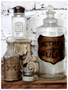 Antique apothecary bottles