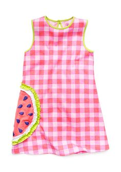 Watermelon applique adds a fun touch to this cute dress. The gingham pattern will make your little girl look adorable.