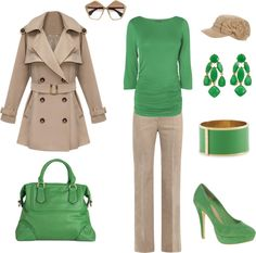 """Fall Work Outfit - Green"" by maggie478 on Polyvore"