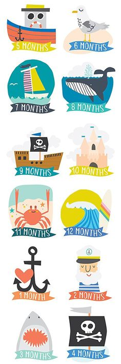 Lucy Darling Monthly Baby Stickers - Baby Boy - Little Captain- Months 1-12