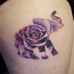 Heres the first tattoo from my guest spot @verestreettattoos with @joescustomtattoo. Super cool rose within an elephant
