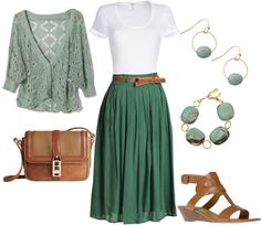A fashion look from January 2013 featuring green cardigan, white t shirt and pleated midi skirts. Browse and shop related looks. Office Outfits Women, Lazy Day Outfits, Komplette Outfits, Skirt Outfits, Stylish Outfits, Spring Outfits, Fashion Outfits, Womens Fashion, Woman Outfits