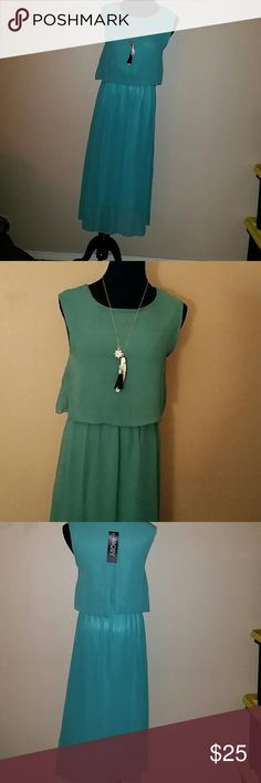 Turquoise blue maxi dress Turquoise blue maxi dress size medium. Necklace is not included abody Dresses Maxi