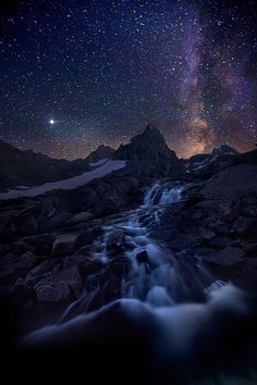 Awesome Photoshop of The Milky Way cascading into the mountain stream by Marc Adamus Beautiful Sky, Beautiful World, Beautiful Places, Stunningly Beautiful, Grand Teton National Park, National Parks, Ciel Nocturne, To Infinity And Beyond, Milky Way