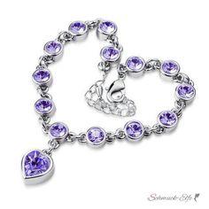 Armband Herz 18 k vergoldet mit österreichischen Kristall lila