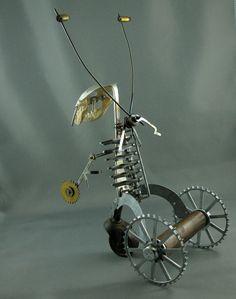 Steampunk Sabertooth Minkbot Vintage Metal Sculpture