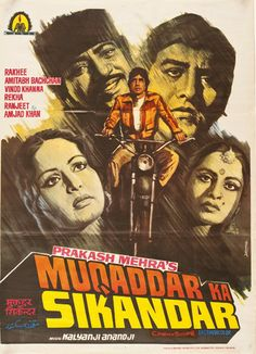 """Title: Muqaddar Ka Sikandar. Poster released: India, 1978. Film released: India, 1978. Starring: Amithabh Bachchan, Raakhee, Vinod Khanna, Director: Prakash Mehra. Poster type: Indian lithograph. Dimensions: 31"""" x 41"""" = 79 x 104cm. Condition: Excellent. Code: P000105MKSINVIP. Old Bollywood Movies, Bollywood Posters, Vintage Bollywood, Bollywood Songs, Indian Bollywood, Bollywood Actors, Website Design Inspiration, Inspiration Logo Design, Old Movie Posters"""