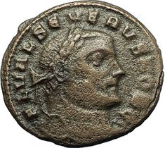 SEVERUS II 305AD Rare Quarter Follis Authentic Ancient Roman Coin GENIUS i66451
