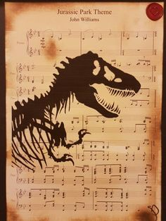 Jurassic Park Theme sheet music, with T-Rex print, wall art, home decor, A4/A3, gift ideas, kids room wall art, by Inmyheartdesigns on Etsy https://www.etsy.com/listing/200620117/jurassic-park-theme-sheet-music-with-t
