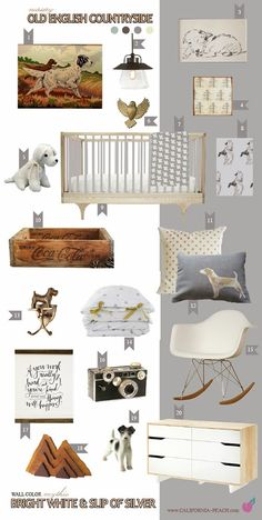 California Peach: Old English Countryside | Nursery || 0VOC, Gold, Grey, White, Baby Room, Rabbit, Bunny, Hare, Winnie the Pooh, A.A. Milne, Diana Jahns, Kevin Courter, Wood, Natural, Vintage, English, England, British, Girl, Boy, Neutral, California, California Peach, Caravan Crib, English Setter, Terrier, Airdale, Argus, Herman Miller, Eco Friendly, Ikea, Modern, Mythic Paint, Non-Toxic, Nursery, Baby Room, Inspiration, Decor, Interior Design, Style Board, Organic