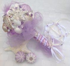 Lavender Bouquet Seashell Shell Beach Wedding by BeachBasketBride, $170.00