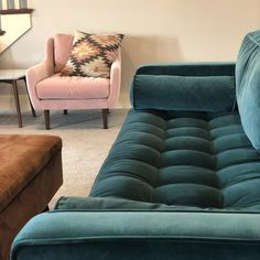 A corner blocked frame keeps this green velvet loveseat sturdy, and loose bolsters and back cushions make it easy to clean. Apartment Living, Living Room, Blue Furniture, Scandinavian Furniture, Pacific Blue, High Quality Furniture, Corner Sofa, Modern Sofa, Repurposed Furniture