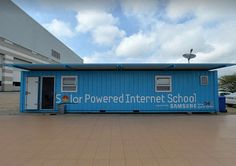 A repurposed shipping container, which was turned into one of Samsung's Solar Powered Internet Schools, the first of which was built in Sout...