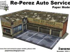 GTA V - Re-Perez Auto Service Free Building Paper Model Download