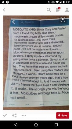 Mosquito yard spray - homemade from 3 ingredients cheap blue mouthwash, Epson salt, & stale cheep beer .omg lol lets see if this works ! Simple Life Hacks, Useful Life Hacks, Cleaning Recipes, Cleaning Hacks, Cleaning Schedules, Weekly Cleaning, Cleaning Solutions, Mosquito Yard Spray, Mosquito Plants