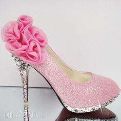 pink sparkle pumps with rosette at heel! wow!