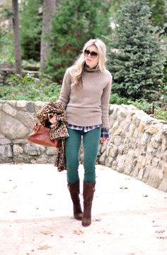 Wintery warm outfit, green jeans. Like the idea with the shirt and sweater...