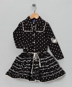 All the world's a stage, and any chic little star will love stealing the spotlight in this charming cotton dress. Classic polka dots, buttons up the front and a twirl-worthy skirt add darling details to this frock's shining style.100% cottonMachine washMade in India