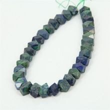 Natural Lapis Chrysocolla Graduated Pendant Beads Drilled Green Lapis Lazuli Faceted Nugget Stone Beads for Jewelry Gift(China (Mainland))