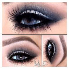 Smokey blue eyes with a dramatic set of eyelash extensions. Try it... ❤ liked on Polyvore featuring beauty products, makeup, eye makeup, false eyelashes, beauty and eyes