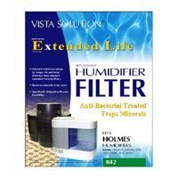 "Vista Solutions H65-C HUMIDIFIER FILTER HOLMES HWF65 by Vista Solutions. $10.60. ""VISTA SOLUTIONS"" HUMIDIFIER FILTER HOLMES  Anti-bacterial treated traps minerals. Fits most Holmes humidifiers. Metal reinforcement. Adds rigidity to shape of the wick filter when moistened Also adds stability with today's softer, more absorbent paper Prevents ""slumping"" or ""sagging"" over time ~or when wet Helps maintain the humidifier's designed output."