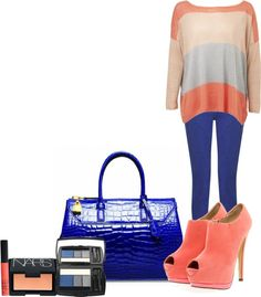 """Coral and Blue"" by nashba on Polyvore"