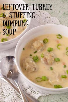 Leftover Turkey Soup & Stuffing Dumplings - Mindee's Cooking Obsession Got leftover turkey and stuffing from Thanksgiving dinner? No problem! Check out this easy leftover turkey soup & stuffing dumplings recipe! Thanksgiving Dinner For Two, Thanksgiving Casserole, Thanksgiving Leftover Recipes, Thanksgiving Dinner Recipes, Thanksgiving Leftovers, Turkey Leftovers, Christmas Recipes, Christmas Desserts, Turkey Time
