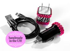 iPhone 5/5s/5c Zebra and Rhinestone USB Wall & Car Charger and Cord on Etsy, $24.98