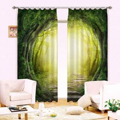 magic tunnel green forest 3d curtain blockout photo curtains print home windows sweethome