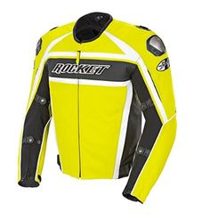 The Joe Rocket Speedmaster Men's Leather Motorcycle Jacket is available in radioactive yellow and stealth black with titanium reinforced shoulders, spine protector and adjustable wrists, sleeves and waist. #motorcyclejacket